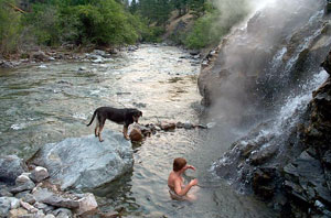 Nude in a hot spring